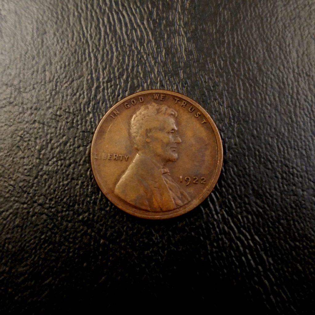 Coin Photography Set Up Results: Counterfeit 1922 No D Lincoln Wheat Cent, Obverse
