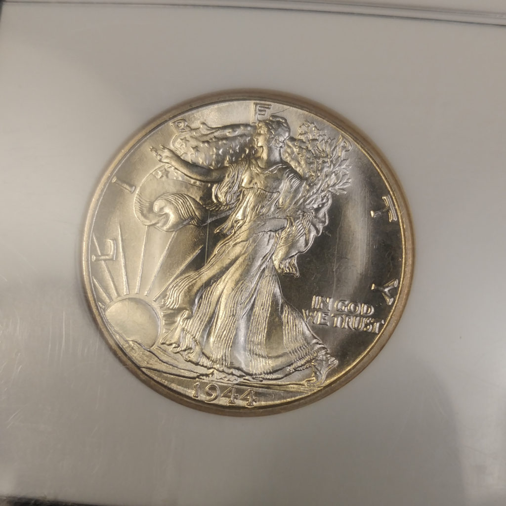 Coin Photography Set Up - Certified Lustrous Coin: 1944-D Walking Liberty Half Dollar, Obverse
