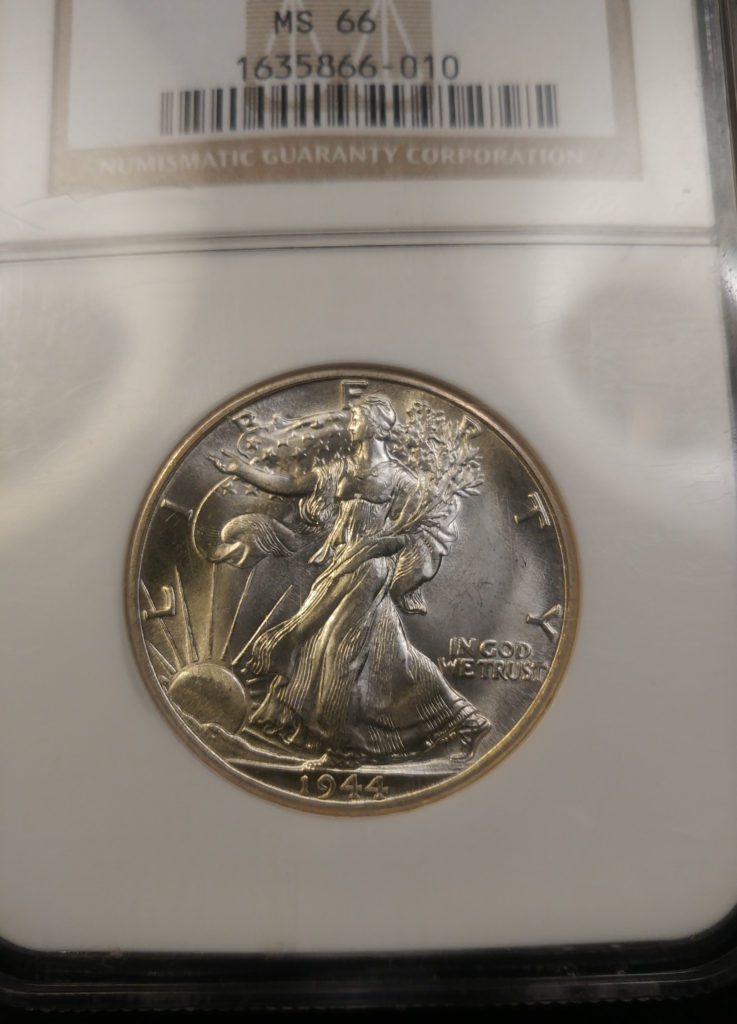 Coin Photography Set Up - Certified Lustrous Coin: 1944-D Walking Liberty Half Dollar, Obverse with NGC Slab