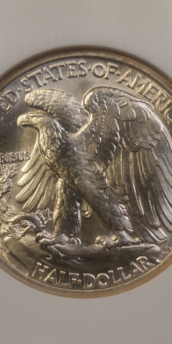 Coin Photography Set Up - Certified Lustrous Coin: 1944-D Walking Liberty Half Dollar, Reverse